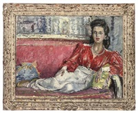 portrait of an elegant lady reclining on a sofa by cathleen s. mann