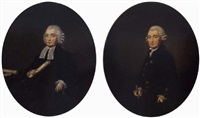 portrait of richard wood in legal robes, holding a scroll in his right hand by francis alleyne