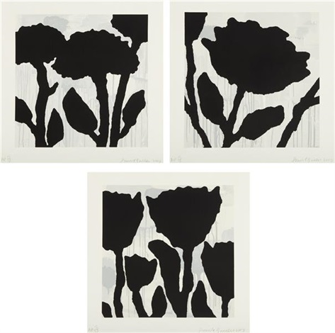 flower studies i iii set of 3 by donald baechler