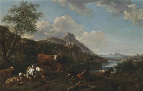 a river landscape with a shepherd and his flock resting mountains beyond by adriaen van de velde