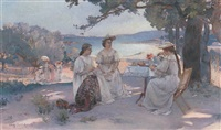 afternoon tea by charles leroy saint-aubert