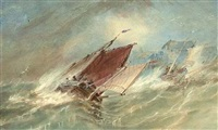 running for shelter (+ fishermen before fortifications; 2 works) by alfred herbert