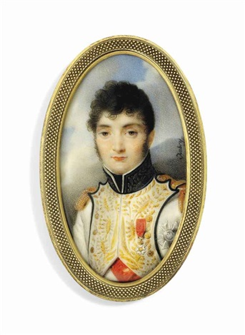 jérôme bonaparte 1784 1860 king of westphalia in blue piped white uniform of the westphalian infantry with gold embroidered facings black collar embroidered in gold oak leaves by louis françois aubry