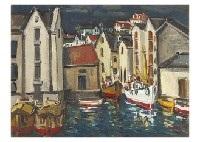 town in seaside (spain) and paris (2 works) by shigeo ishikawa