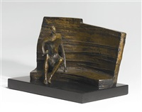 maquette for seated figure against curved wall by henry moore