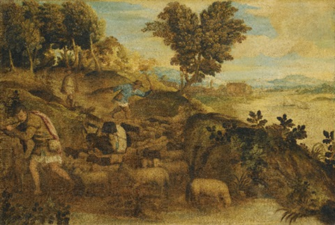 a pastoral landscape with three shepherds attending their flock of sheep and a donkey a river with boats sailing a town and mountains beyond by titian tiziano vecelli