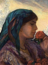 jeune femme aux roses by salomon taib