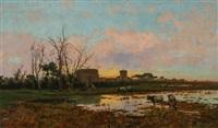 castel fusano and marsh scene by pietro barucci