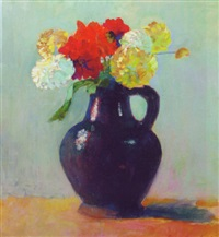 dahlia's in a jug by georges hogerwaard