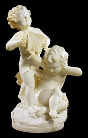 two music making putti by italian school florentine 19