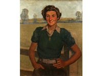 portrait of a land girl by mary eastman
