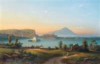 lago di fusaro mit der casina reale bei neapel by johann-rudolph buhlmann