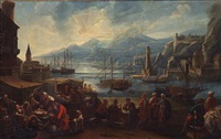 a capriccio harbor view with numerous figures (+ a market scene; pair) by pietro maurizio bolckman