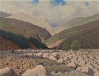 paysage de montagne by felix-hippolyte lanoue