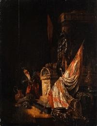 vanitasallegorie - räuber am marmorsarkophag by willem de poorter