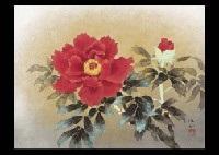 red peony and hirono (2 works) by yasukazu tomita