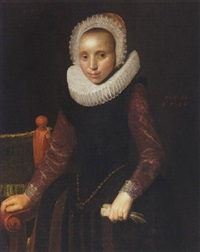 portrait of a young lady wearing a black dress, with purple sleeves with and elaborate ruff and headress by george geldorp