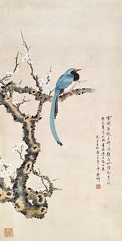 花鸟 立轴 设色纸本 by xie zhiliu