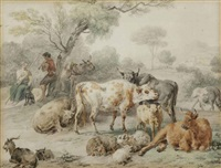 cattle in a meadow by dirk van bergen