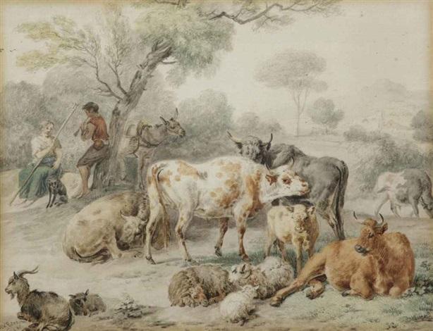 cattle in a meadow by dirk van bergen