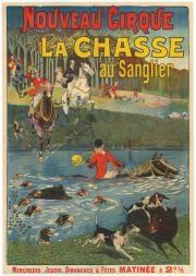 nouveau cirque, la chasse aux sangliers by eugene louis le mouel