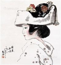 日本妇女 设色纸本 by liu wenxi