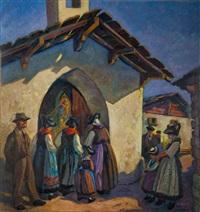 valaisannes à l'entrée de la messe dans le val de bagnes by g. billet