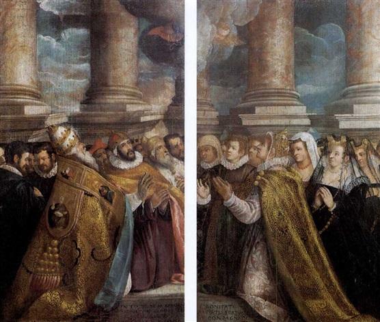 il papa il doge ed un re inginocchiati la dogessa e alcune dame inginocchiate by marco vecellio