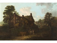 figures feeding ducks outside a cottage with an extensive landscape beyond by edward robert smythe