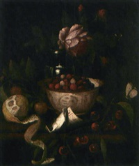 natura morta con lamponi entro ciotola in ceramica, vasetto con rosa, ciliegie, susine e limone by martinus nellius