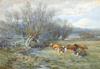 in the meadows (+ autumn evening; pair) by charles james adams