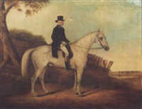 gentleman riding on a white horse by anglo-american school (19)