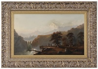 indian breakfast, with mount hood in the distance (after a painting titled the last of the race by john mix stanley) by charles lanman
