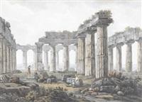 innenansicht eines tempels von paestum by abraham ducros & giovanni volpato
