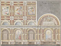 study of the fresco by giacomo cordella in the interior of the chiesa della pieta, fermo by pietro lucchi