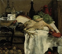 a kitchen still life with a rooster, bread and cabbages by maurice dupuis