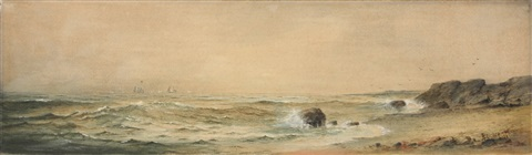 panoramic coastal scene with sailboats on horizon by alfred thompson bricher