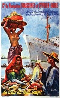 cie de navigation fraissinet & cyprien fabre - la côte occidentale d'afrique de marseille à pointe noire paquebot jean mermoz by maurice fiévet