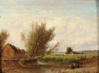 washerwomen at a country stream by emile charles lambinet