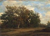 chemin en sous-bois dans la forêt de fontainebleau by francois antoine leon fleury