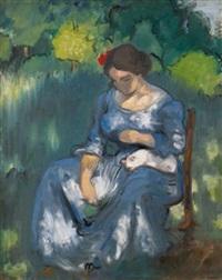 femme avec un chat by louis anquetin