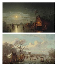 selling refreshments on the ice (+ skaters before a riverside town; pair) by johann mongels culverhouse