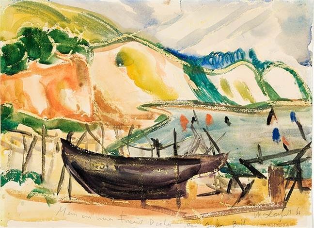usedomer steilküste mit fischerboot by wilhelm lachnit
