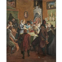 a merry company in an interior, with musicians and gamblers by joos van winghe