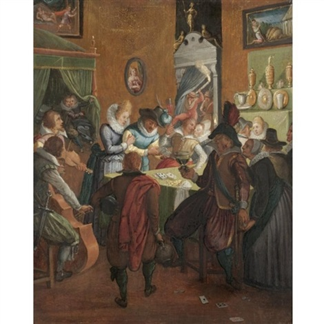 a merry company in an interior with musicians and gamblers by joos van winghe