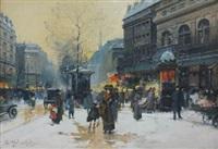 boulevard sous la neige by eugène galien-laloue
