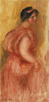 étude: gabrielle en tunique rouge by pierre-auguste renoir