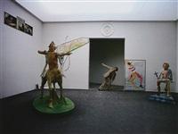 luigi ontani in posa da discobolo alla 41° biennale di venezia by giorgio colombo