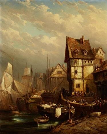 scènes de ports en normandie (pair) by louis gabriel eugène isabey