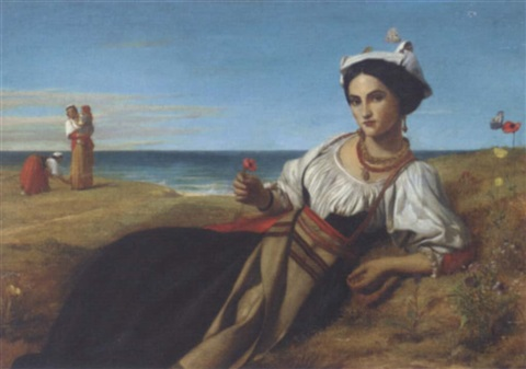 a girl collecting poppies reclining in a coastal landscape by john rogers herbert